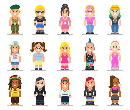 트렌디 한 플랫 스타일에서 다른 하위 문화 여자의 집합입니다. 고스, 강간범, 히피, 힙 스터, 로커, 자전거 타는 사람, 디스코 팬 웹 평면 아이콘