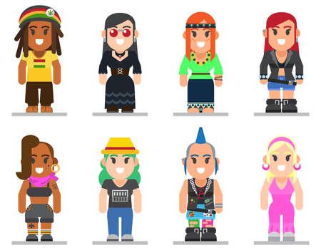 트렌디 한 플랫 스타일에서 다른 하위 문화 여자의 집합입니다. 고스, 강간범, 히피, 힙 스터, 로커, 자전거 타는 사람과 디스코 팬 웹 평면 아이콘