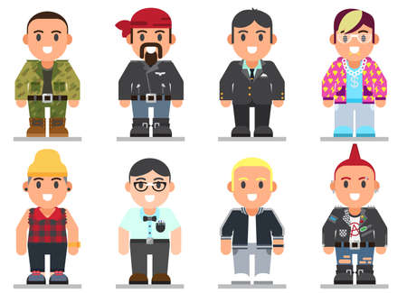 gee gee: set of different subcultures man in trendy flat style. Military, gee, sporty, punk, swag, businessman, biker and emo web flat icons Illustration