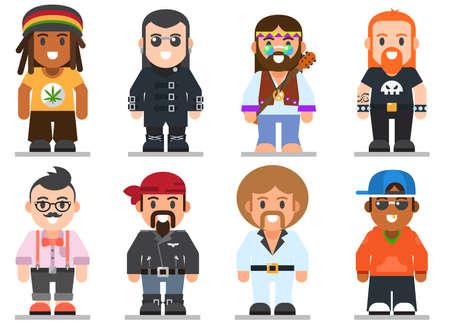 트렌디 한 플랫 스타일로 다른 하위 문화 남자의 집합입니다. 고스, 강간범, 히피, 힙 스터, 로커, 자전거 타는 사람과 디스코 팬 웹 평면 아이콘 일러스트