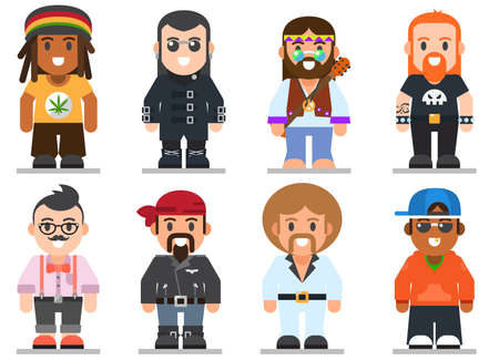 subcultures: set of different subcultures man in trendy flat style. Goth, raper, hippy, hipster, rocker, biker and disco fan web flat icons