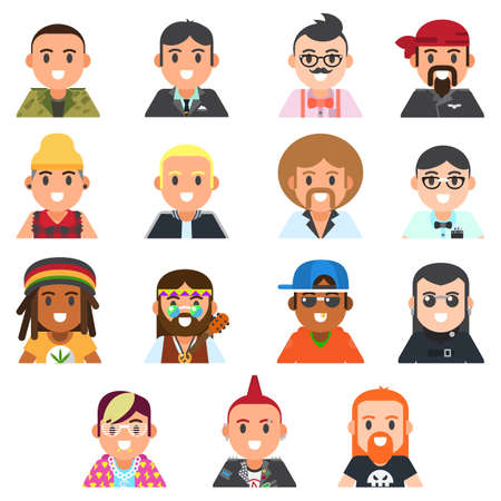 Vector set of different subcultures man in trendy flat style. Military, geek, sporty, punk, swag, businessman, biker and emo web flat icons