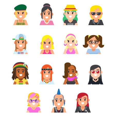 set of different subcultures woman in trendy flat style. Goth, raper, hippy, hipster, rocker, biker, disco fan web icons