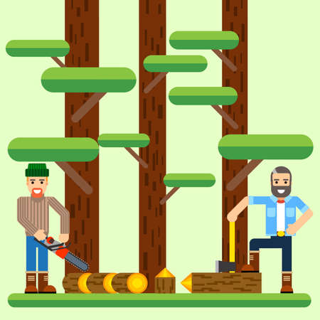Lumberjack with axe and saw in the forest flat vecrtor illustration Ilustrace