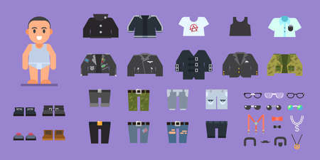 Clothes set for man. Wardrobe. Stock flat illustration set. Ilustrace