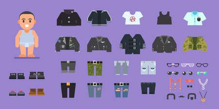 jeans skirt: Clothes set for man. Wardrobe. Stock flat illustration set. Illustration