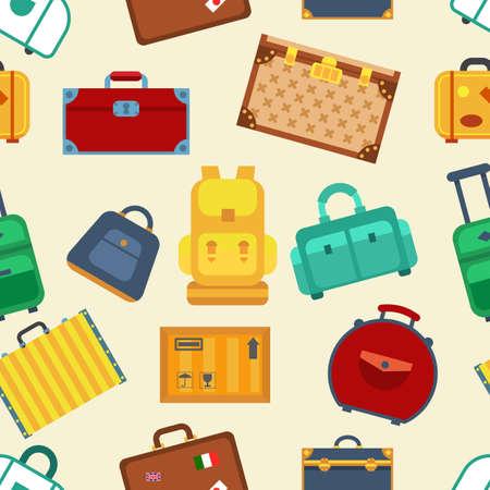 Colorful luggage seamless pattern