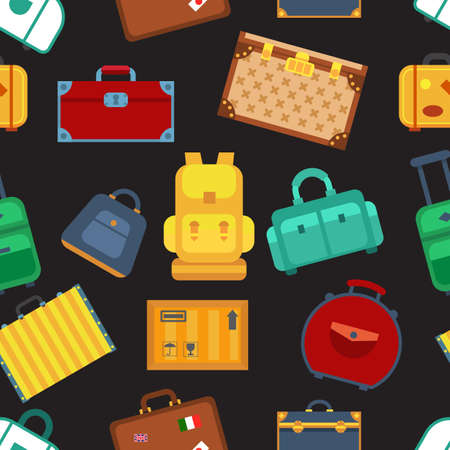 Colorful luggage seamless pattern background black background