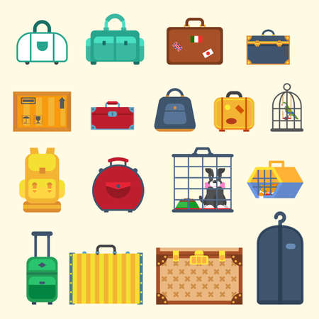 Bags set. Bags isolated. Bags travel in a flat style