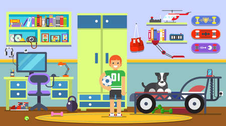 bed room: living room with boy. Illustration