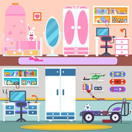 Chłopiec i dziewczynka pokój z łóżkiem, szafą, półki i zabawek. Mieszkanie w stylu cartoon ilustracji wektorowych. colore tle