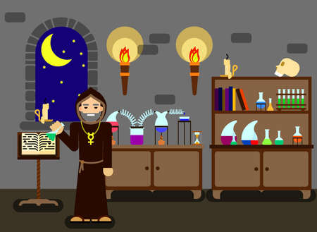 magic book: Flat colorful illustration. old alchemist cooking a magic green fluid in his laboratory
