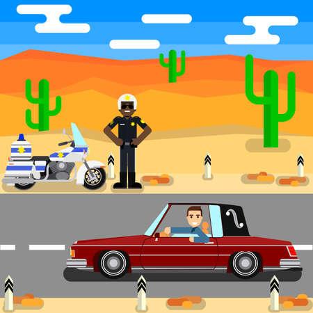 Road police. policeman Driver on desert road