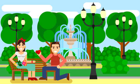 Couple in park date flat