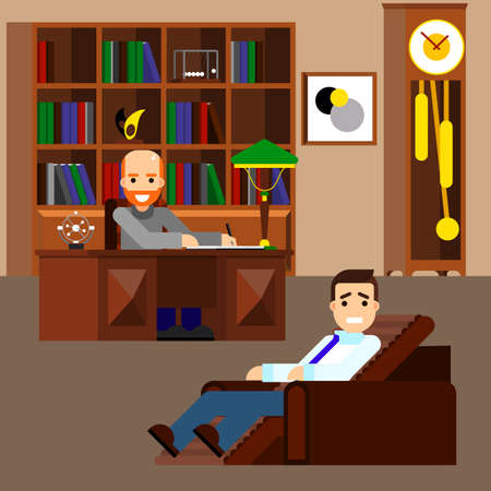 depression: Psychologist concept flat isolated. Mental psychology problem, health and psychiatrist, human mind, medical stress, people, issue talking, depression and therapy illustration Illustration