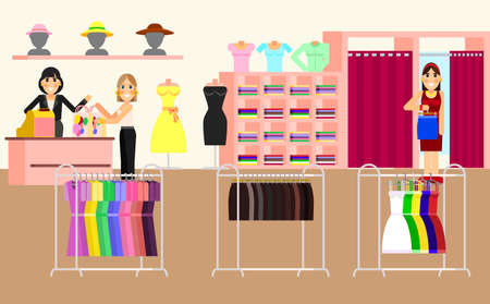 clothes shop: Clothing store. Woman clothes shop and boutique. Shopping, fashion, bags, accessories. Illustration