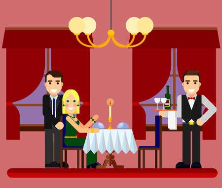 pareja comiendo: Joven pareja romántica fecha en restaurante con camareros y champán plana