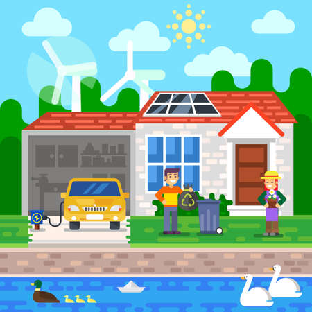 environmentally friendly: Environmentally friendly world. The city, solar panels, a windmill, a tree Vector illustration of ecology the concept of infographics modern design. The icon, sign. Ecological concepts