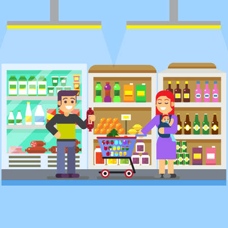 shopping buggy: Young parents with baby toddler in a sling pushing supermarket shopping cart full of groceries. Flat style vector illustration