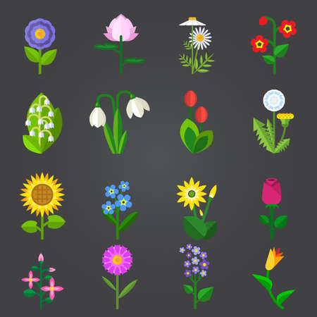 Flowers - set of isolated vector icons on white background. Flat colorful vector illustration.