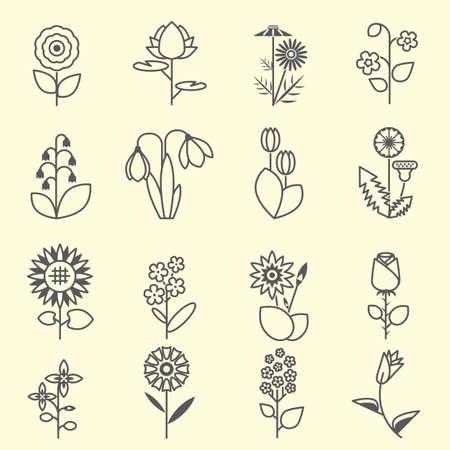 Flowers - set of isolated black line icons . Flat colorful illustration.