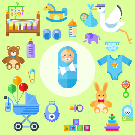 waiting for a baby. All the newborn boy stuff Flat colorful vector illustration.