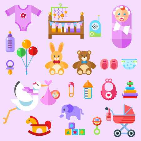 waiting for a baby. All the newborn girl stuff Flat colorful illustration. Ilustrace