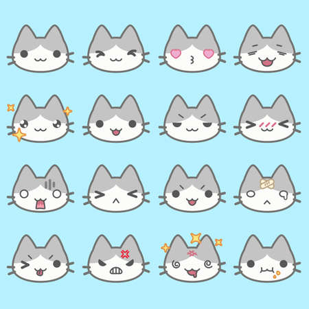 neko: Set of simple cute cat emoticons with different emotions Illustration
