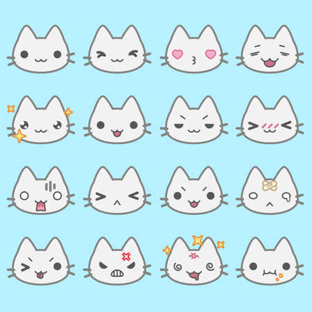 Set of simple cute cat emoticons with different emotions Ilustrace