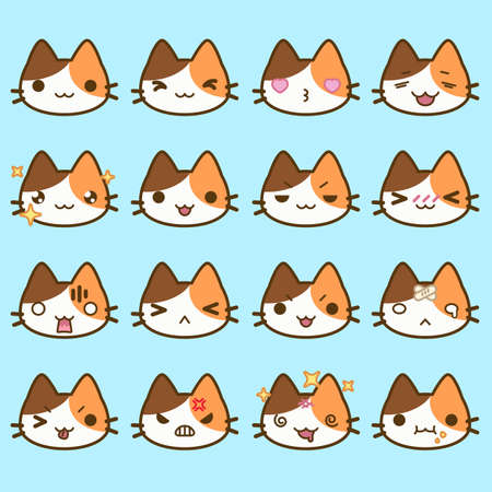 Set of simple cute cat emoticons with different emotions 일러스트
