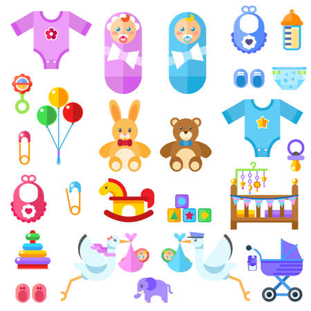 waiting for a baby. All the newborn boy girl stuff Flat colorful illustration.
