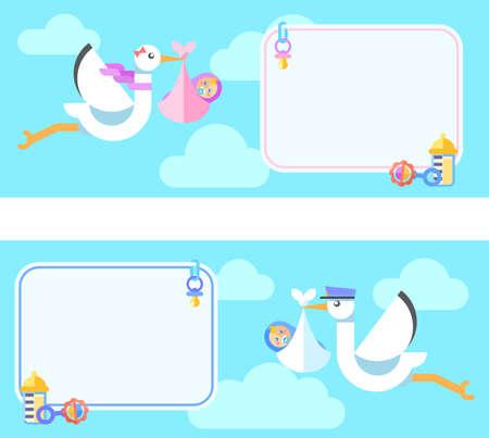 Carte de voeux mignonne avec Stork portant un bébé mignon. Flat illustration colorée. Vecteurs