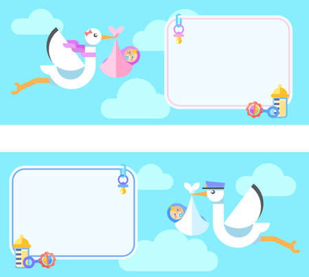 Cute greetings card with Stork carrying a cute baby. Flat colorful illustration.