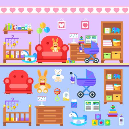 Baby firl room with furniture. Nursery interior. Flat style vector illustration. Ilustrace