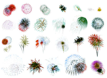 25 individual fireworks explosions on a white background.   photo