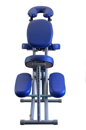Blue Massage Chair from low front view, isolated. photo