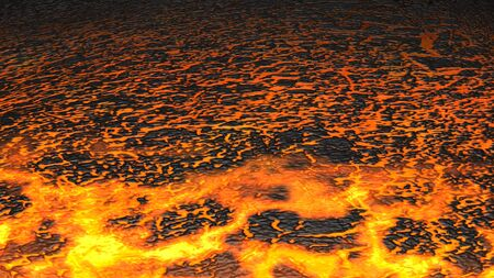 Render of Lava flowing towards camera. photo