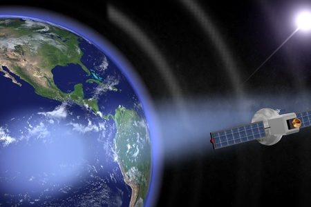 Communication satellites orbiting the earth with visible beams.