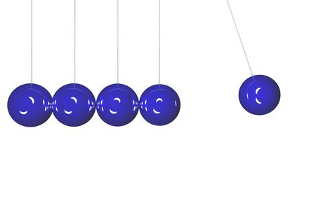 Blue Newton's cradle isolated in side view Stock Photo - 2302315
