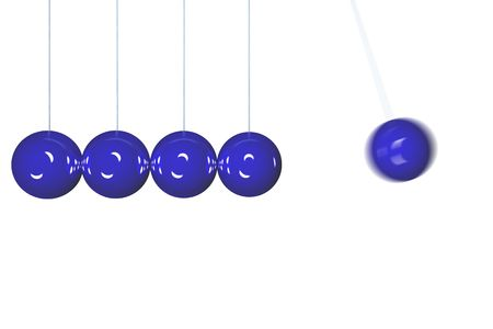 Blue Newton's cradle isolated in side view with motion blur Stock Photo - 2302314