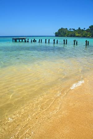 Exotic beach with nice blue ocean water