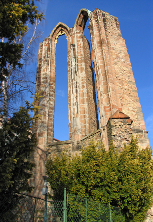 Ruins of burned down cathedral in Benesov, Czech republic