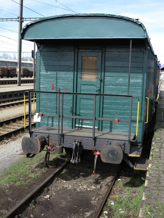 Old Abandoned Wooden Train Wagon, green coloured