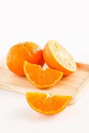 veiw: vertical veiw of orange on white background Stock Photo