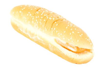 whitebackground: sausage with sesami bun on whitebackground