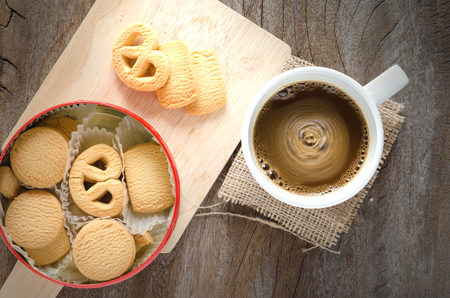 biscuit: hot coffee and mini cookies or biscuit add vignette