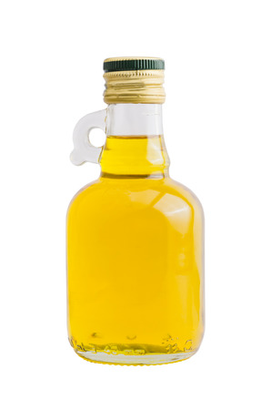 Isolated bottle of rice bran oil on white with clipping path