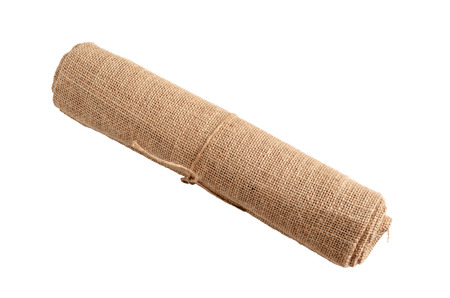 roll of kenaf made from jute on white with clipping path