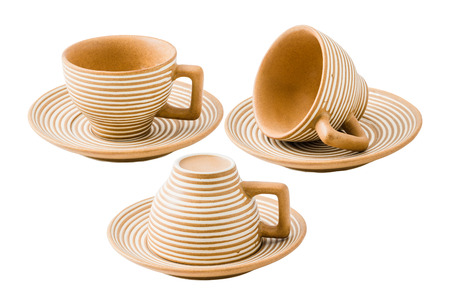 set of a coffee cup on white background with clipping path