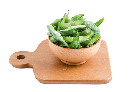 edamame or soybean on white background with clipping path, is a cuisine of Asian; Japanese, china which plenty of vitamin and protein